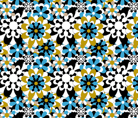 fabric tuttifiori blue-01 fabric by vannina on Spoonflower - custom fabric