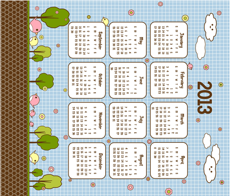 2013_kotori_calendar fabric by cutekotori on Spoonflower - custom fabric