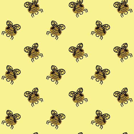 Oncoming Bee fabric by nefernika on Spoonflower - custom fabric