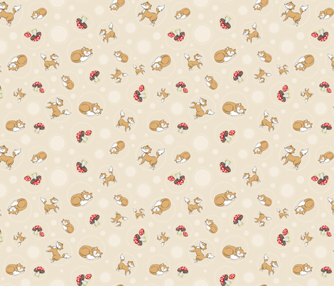 Sassy Fox - Fox and toadstool on neutral fabric by eveningsongink on Spoonflower - custom fabric