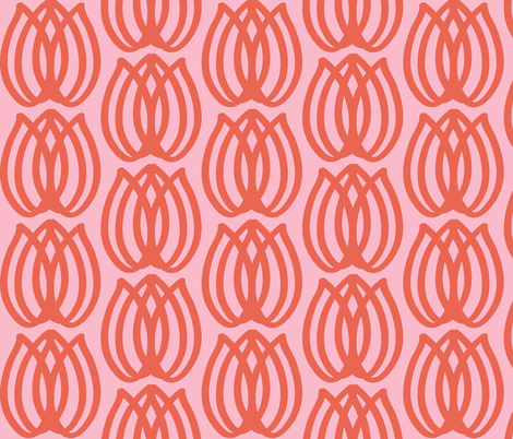 Tulips - pink & coral fabric by fable_design on Spoonflower - custom fabric