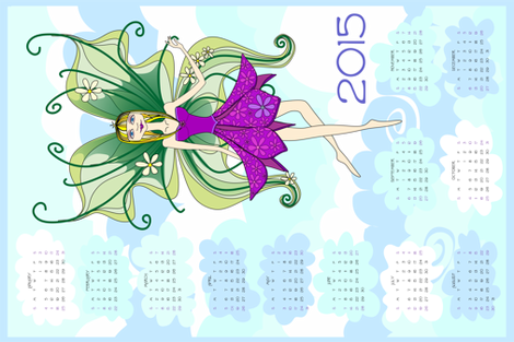 Philomena in the clouds - 2015 Calendar tea towel fabric by bippidiiboppidii on Spoonflower - custom fabric