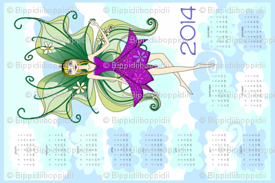Philomena in the clouds - 2013 Calendar tea towel