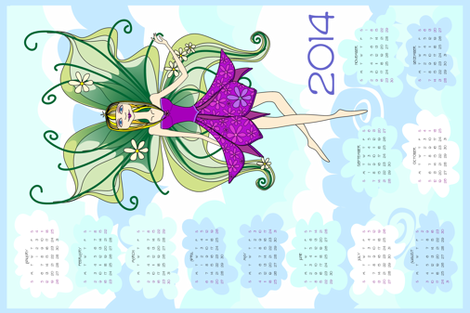 Philomena in the clouds - 2013 Calendar tea towel fabric by bippidiiboppidii on Spoonflower - custom fabric