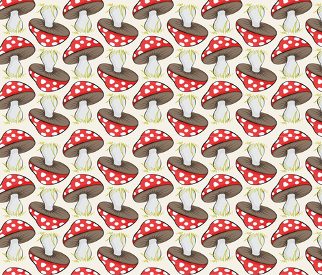 Sassy Fox - Neutral and red toadstools fabric by eveningsongink on Spoonflower - custom fabric