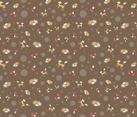 Sassy Fox - Fox and toadstool on chocolate fabric by eveningsongink on Spoonflower - custom fabric