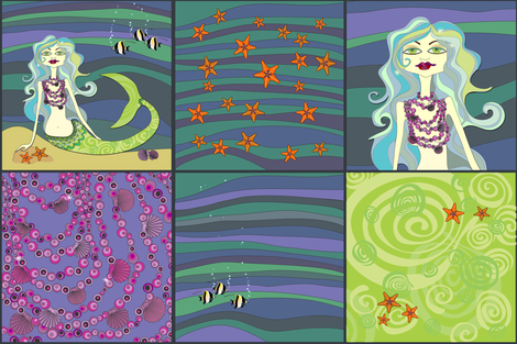 Ondine dream cushion panel set fabric by bippidiiboppidii on Spoonflower - custom fabric