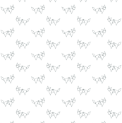 Tangram fox in grey outline on white