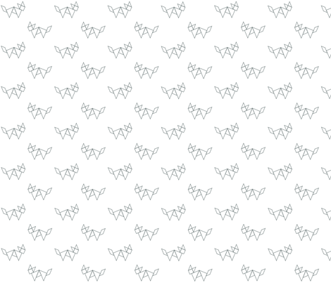 Tangram fox in grey outline on white fabric by little_fish on Spoonflower - custom fabric