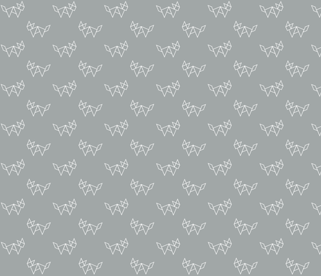 Tangram fox in white outline on grey fabric by little_fish on Spoonflower - custom fabric