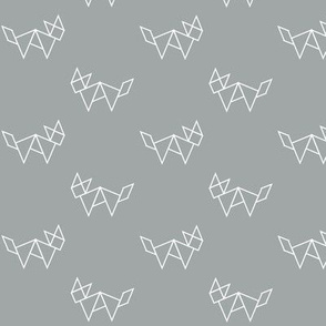 Tangram fox in white outline on grey