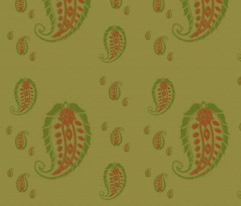 olive_paisley fabric by east-6th-west on Spoonflower - custom fabric