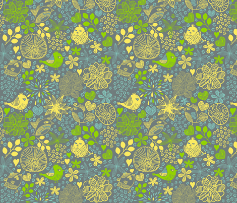 birds in flowers at night fabric by anastasiia-ku on Spoonflower - custom fabric