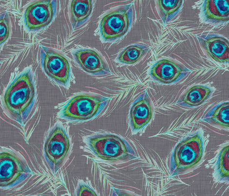 peacock_feathers_grey fabric by katarina on Spoonflower - custom fabric