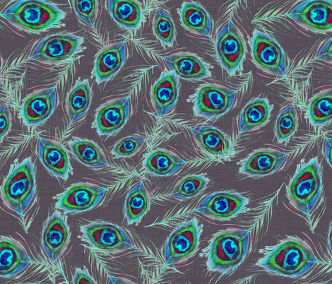 peacock_feathers_dark_grey fabric by katarina on Spoonflower - custom fabric