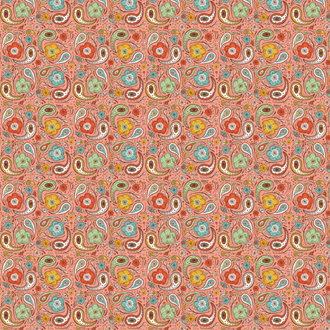 Adora Paisley - Ditsy Scale Option Coral fabric by heatherdutton on Spoonflower - custom fabric