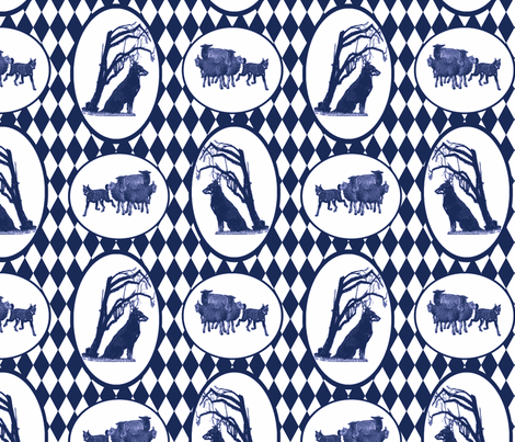 Beauceron Toile - blue fabric by rusticcorgi on Spoonflower - custom fabric
