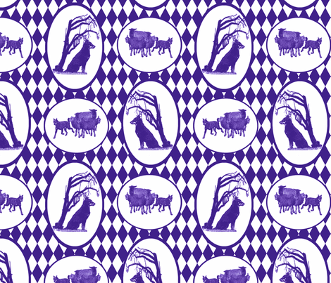 Beauceron Toile - purple fabric by rusticcorgi on Spoonflower - custom fabric