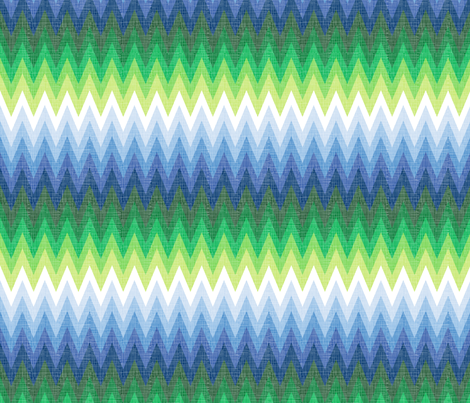 Ombre Zig Zag Blue + Green fabric by veritymaddox on Spoonflower - custom fabric