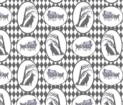 Beauceron Toile - pewter fabric by rusticcorgi on Spoonflower - custom fabric