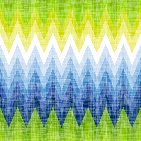 Ombre Zig Zag Blue + Chartreuse fabric by veritymaddox on Spoonflower - custom fabric