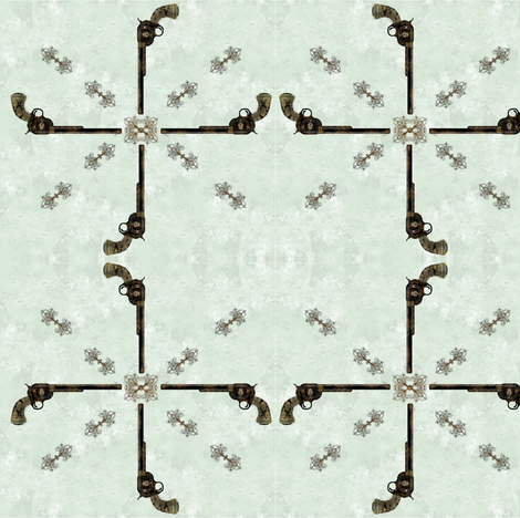 Victorian Pistol - light blue background fabric by boneyfied on Spoonflower - custom fabric