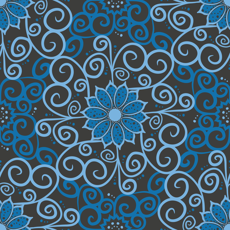 Polka Floral Damask (Dark) fabric by robyriker on Spoonflower - custom fabric