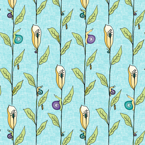 Funky Creeping Critters on Sky Blue. fabric by rhondadesigns on Spoonflower - custom fabric