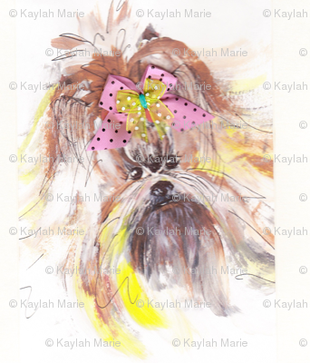 YORKIE IN PINK BOW  by Kaylah Marie