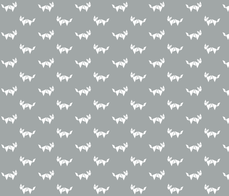 Tangram fox in white on grey fabric by little_fish on Spoonflower - custom fabric