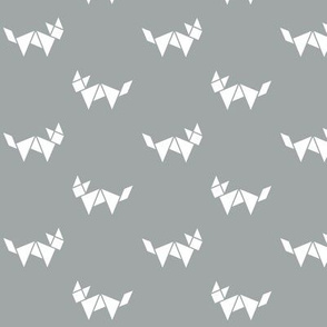 Tangram fox in white on grey
