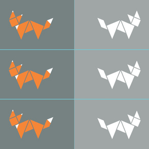 Tangram two sided fox cushion