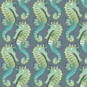 Seahorses on parade (blue-grey)