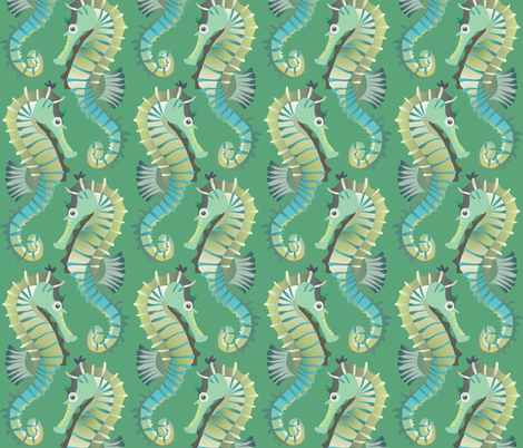 Seahorses on parade (sea-green) fabric by bippidiiboppidii on Spoonflower - custom fabric