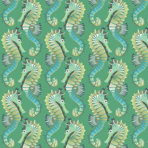 Seahorses on parade (sea-green)