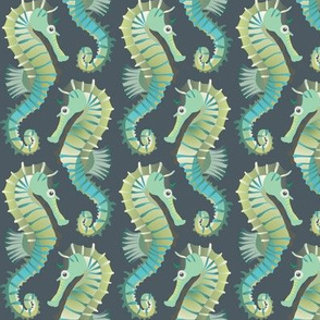 Seahorses on parade (grey-green)