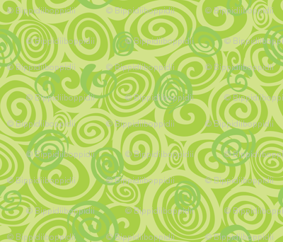 A spiralling fishy tail (green)