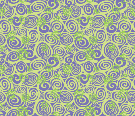 A spiralling fishy tail (purple and green) fabric by bippidiiboppidii on Spoonflower - custom fabric