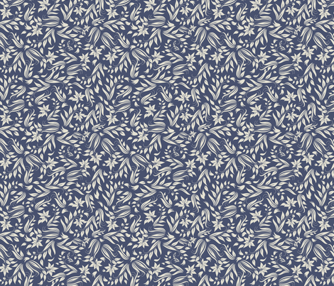 grey flowers on blue fabric by anastasiia-ku on Spoonflower - custom fabric