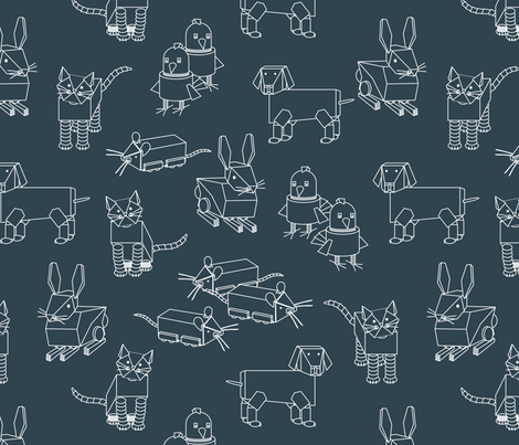 eulen&lerchen_robots_outline fabric by eulen&lerchen on Spoonflower - custom fabric