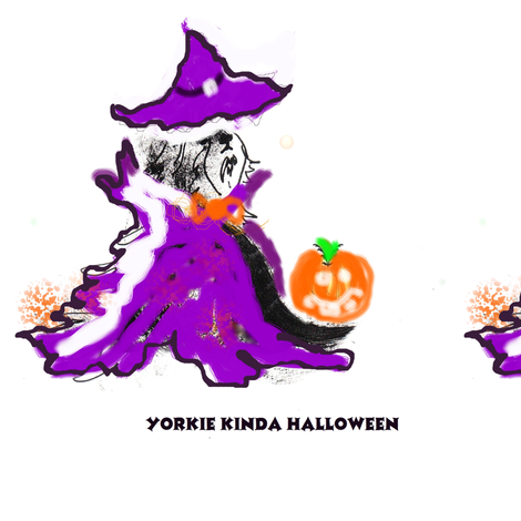 YORKIEHALLOWEENUNFINISEDSUMU-ed fabric by kaylah-marie on Spoonflower - custom fabric