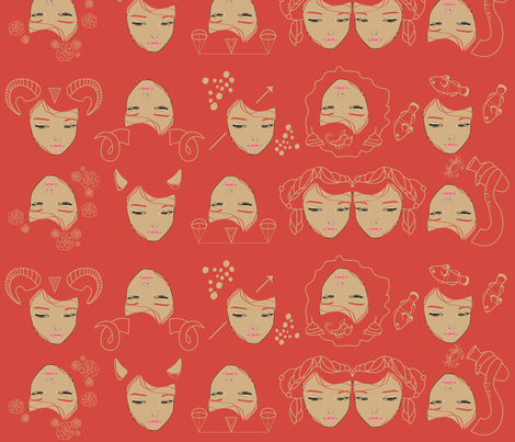 the zodiac fabric by annaboo on Spoonflower - custom fabric