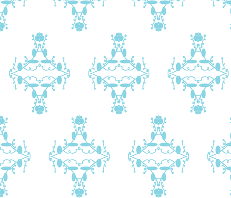 White and Turquoise Damask fabric by captiveinflorida on Spoonflower - custom fabric