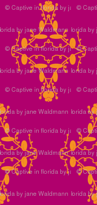 Fuchsia and Orange Damask