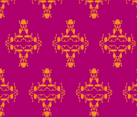 Fuchsia and Orange Damask fabric by captiveinflorida on Spoonflower - custom fabric