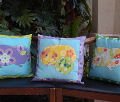 "Three 16"" pillows in one yard - Guinea Pig pillows"