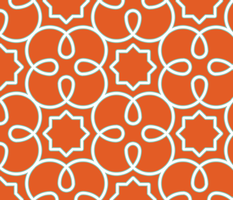 Geometric Loopy-Yummy Reddish Orange fabric by anntuck on Spoonflower - custom fabric