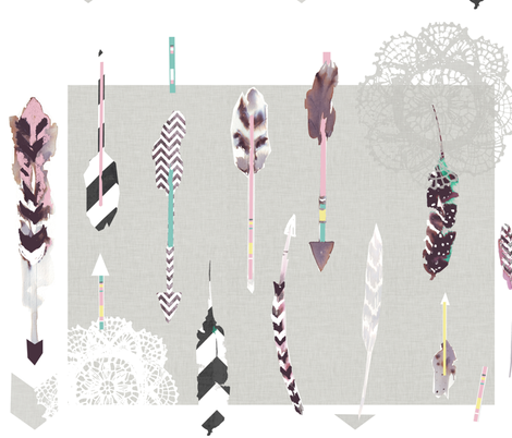 Arrows & feathers fabric by katarina on Spoonflower - custom fabric