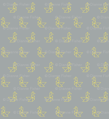 Tangram birds lemon outline on grey