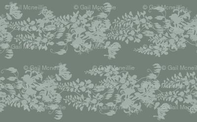 Wisteria & Honeysuckle Silhouette - grey/green